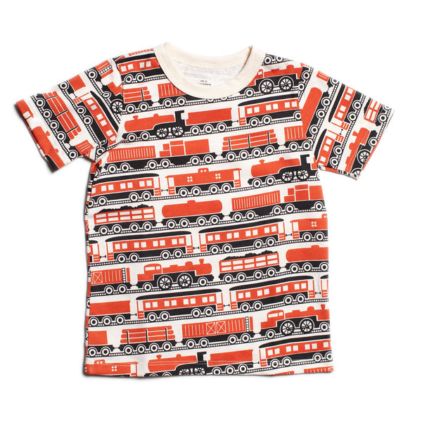 Short Sleeve Tee - Trains Orange