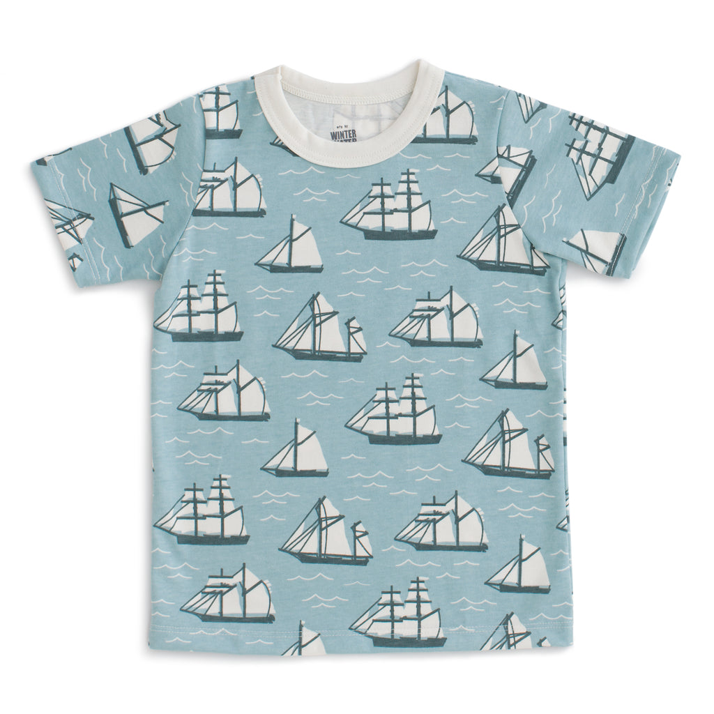 Short Sleeve Tee - Vintage Sailboats Ocean Blue & Teal