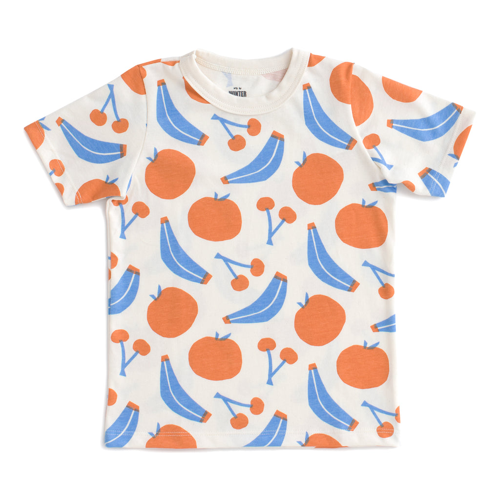 Short Sleeve Tee - Yummy Fruit Blue & Orange