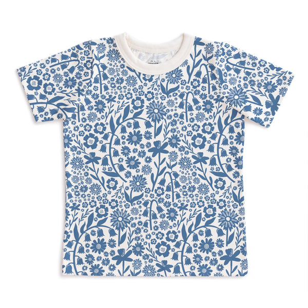 Short-Sleeve Tee - Dutch Floral Delft Blue
