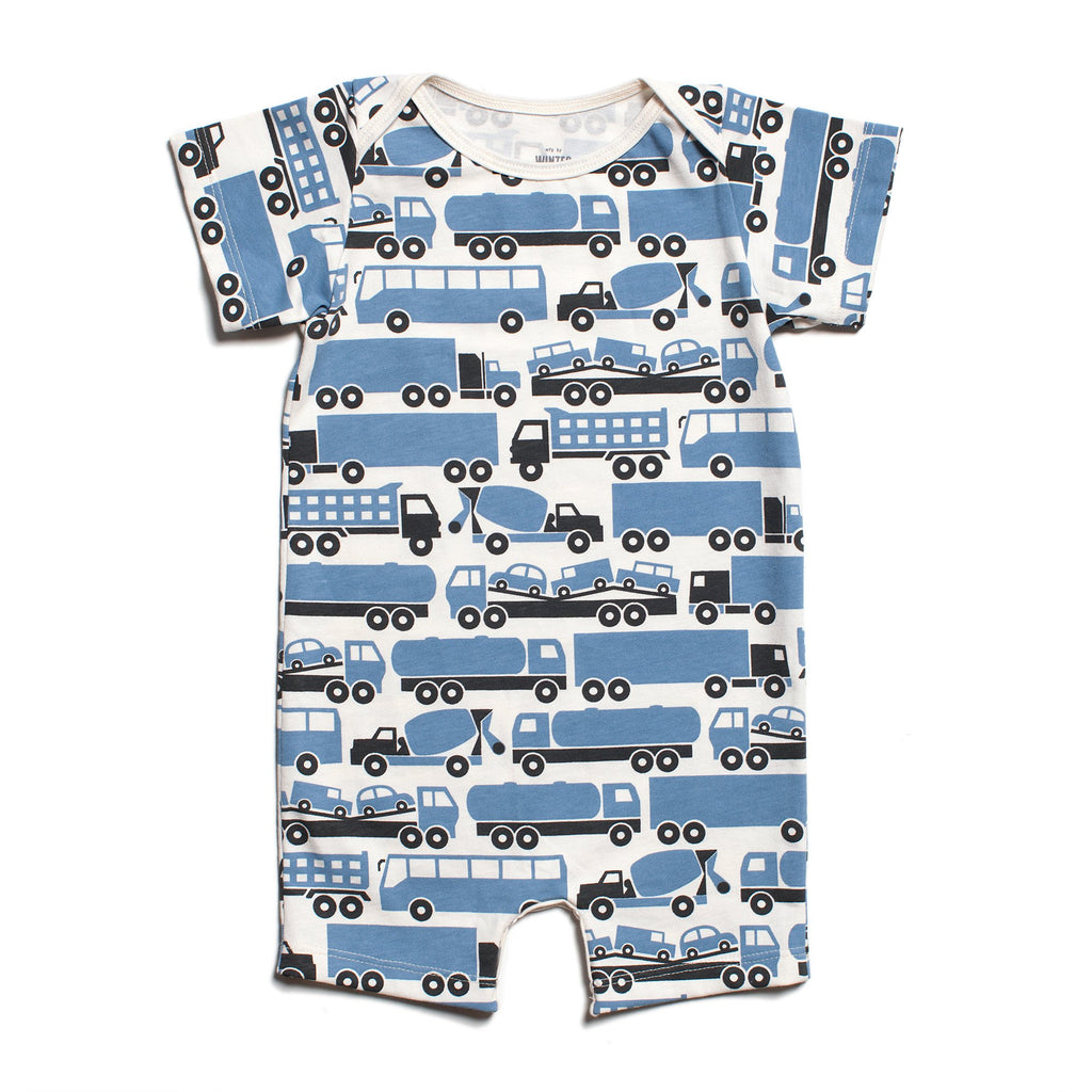 Summer Romper - Big Rigs Blue