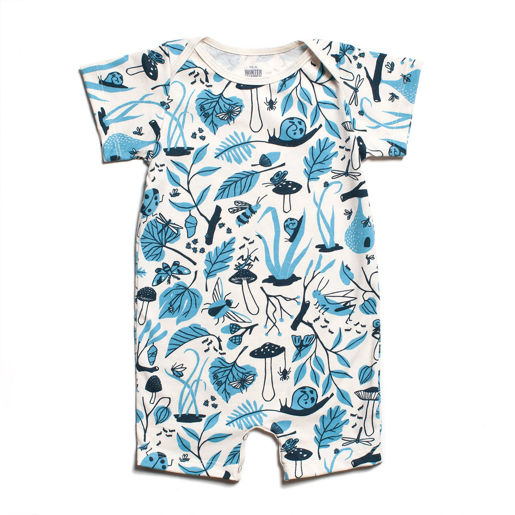 Summer Romper - Leaves & Bugs Blue