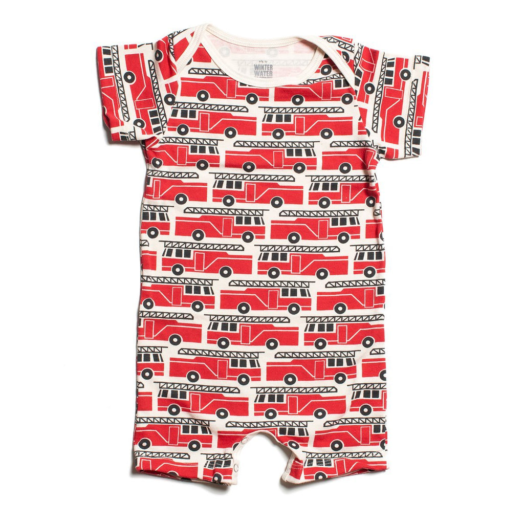 Summer Romper - Firetrucks Red