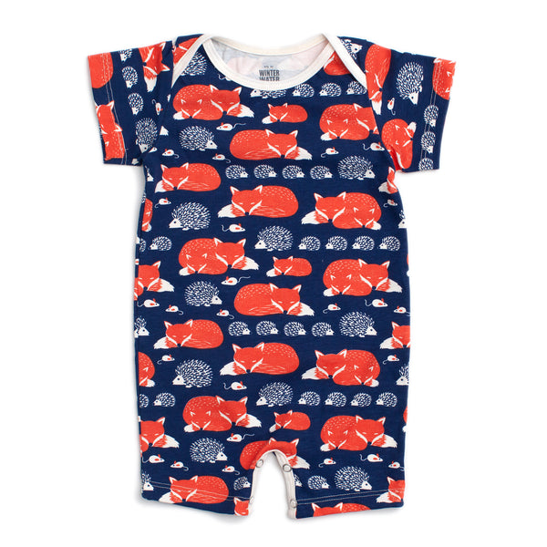 Summer Romper - Foxes & Hedgehogs Navy & Orange