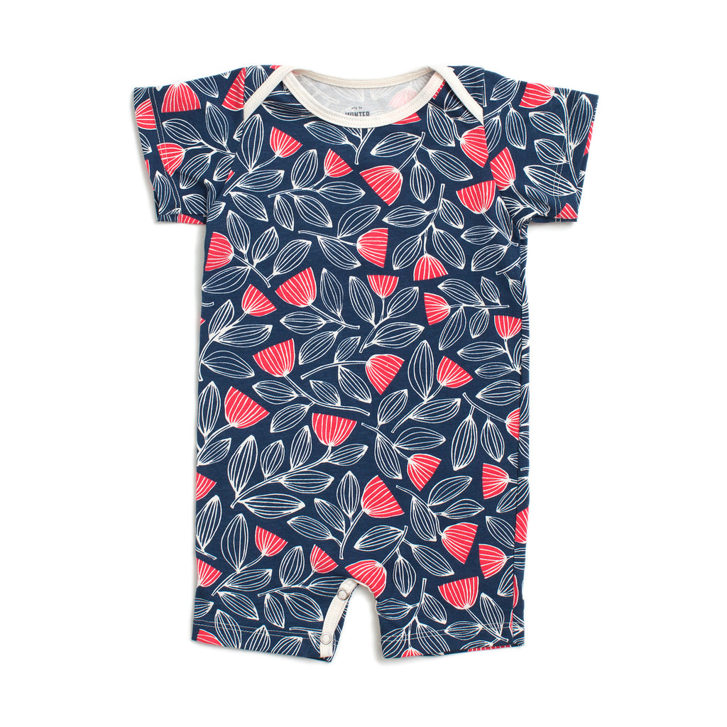 Summer Romper - Holland Floral Navy & Coral