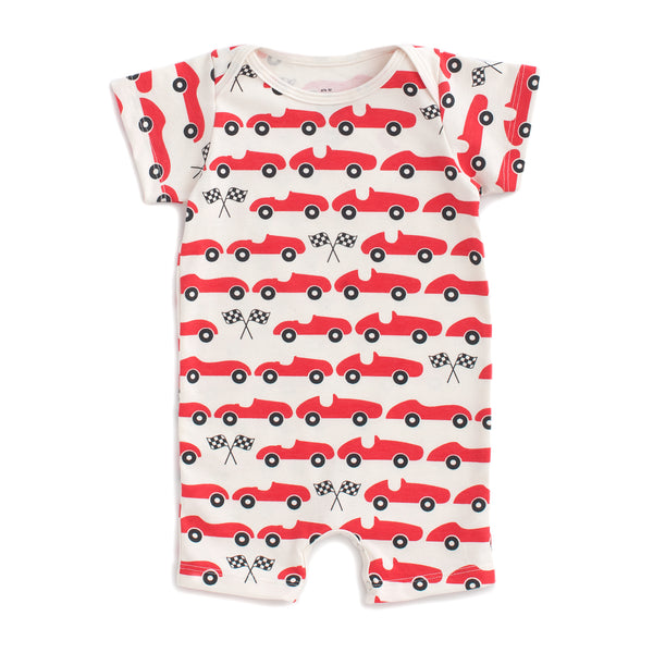 Summer Romper - Race Cars Red