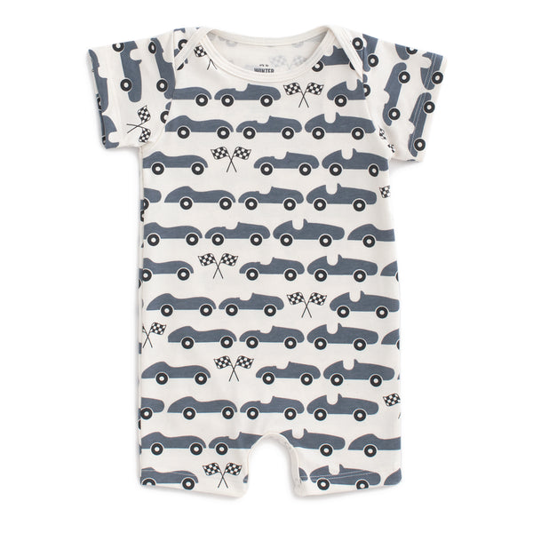 Summer Romper - Race Cars Slate Blue