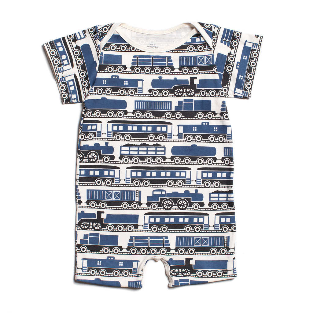 Summer Romper - Trains Navy