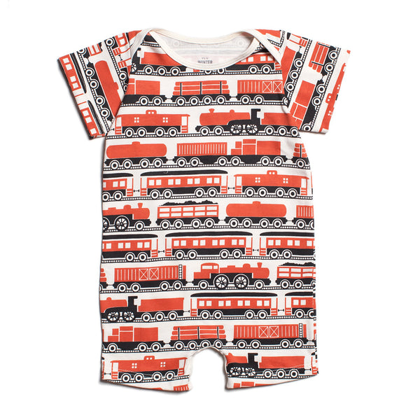 Summer Romper - Trains Orange