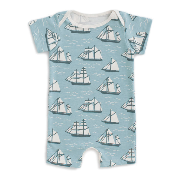 Summer Romper - Vintage Sailboats Ocean Blue & Teal