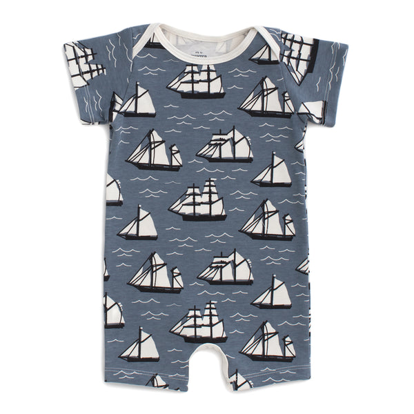 Summer Romper - Vintage Sailboats Slate Blue & Black