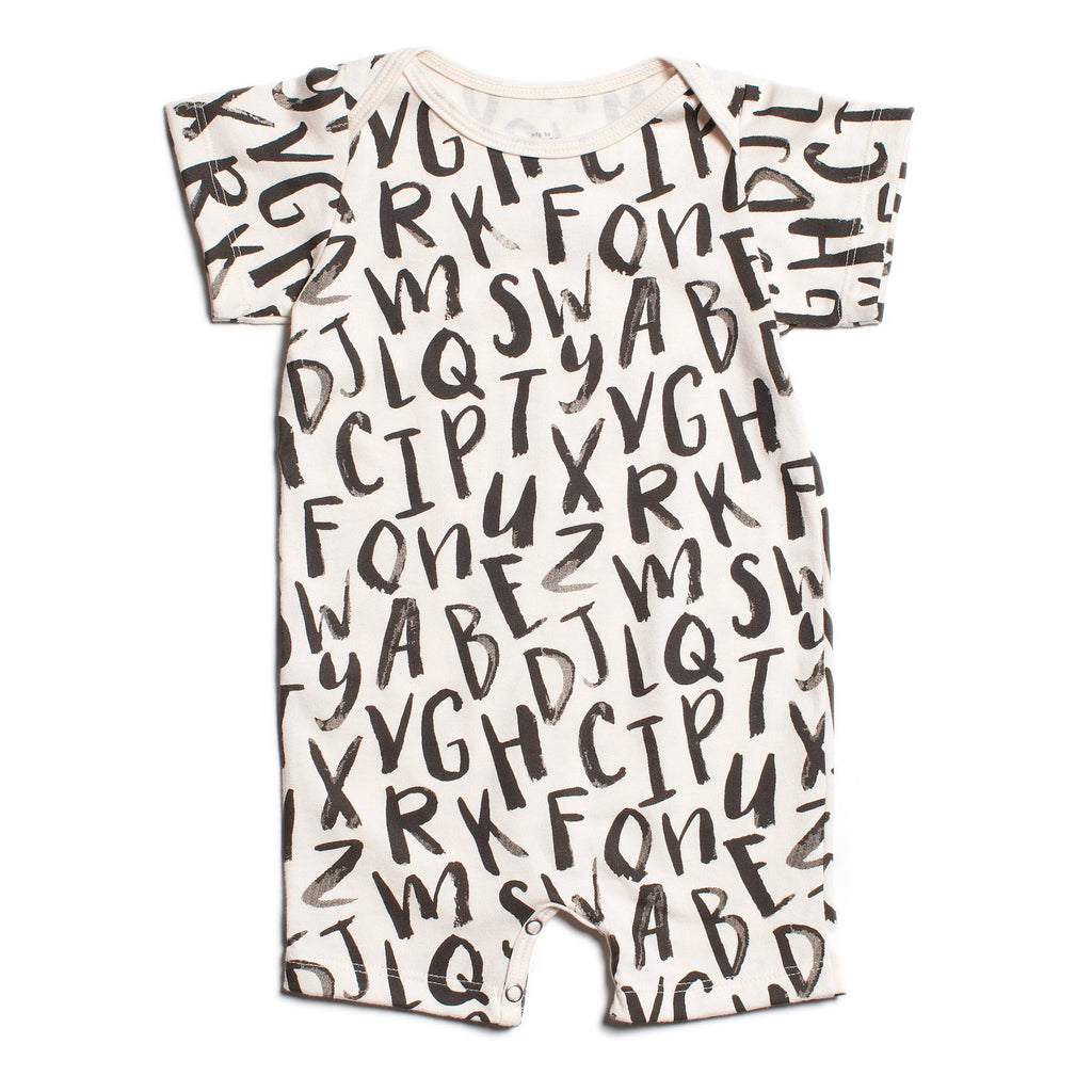 Summer Romper - Alphabet Black