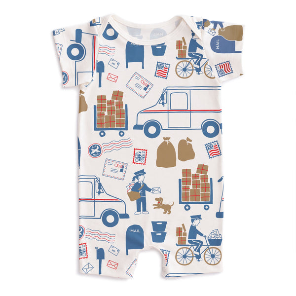 Summer Romper - Postal Service Red & Blue