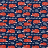 Kerchief Bib - Foxes & Hedgehogs Navy & Orange