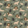 Fitted Crib Sheet - Lions Forest Green