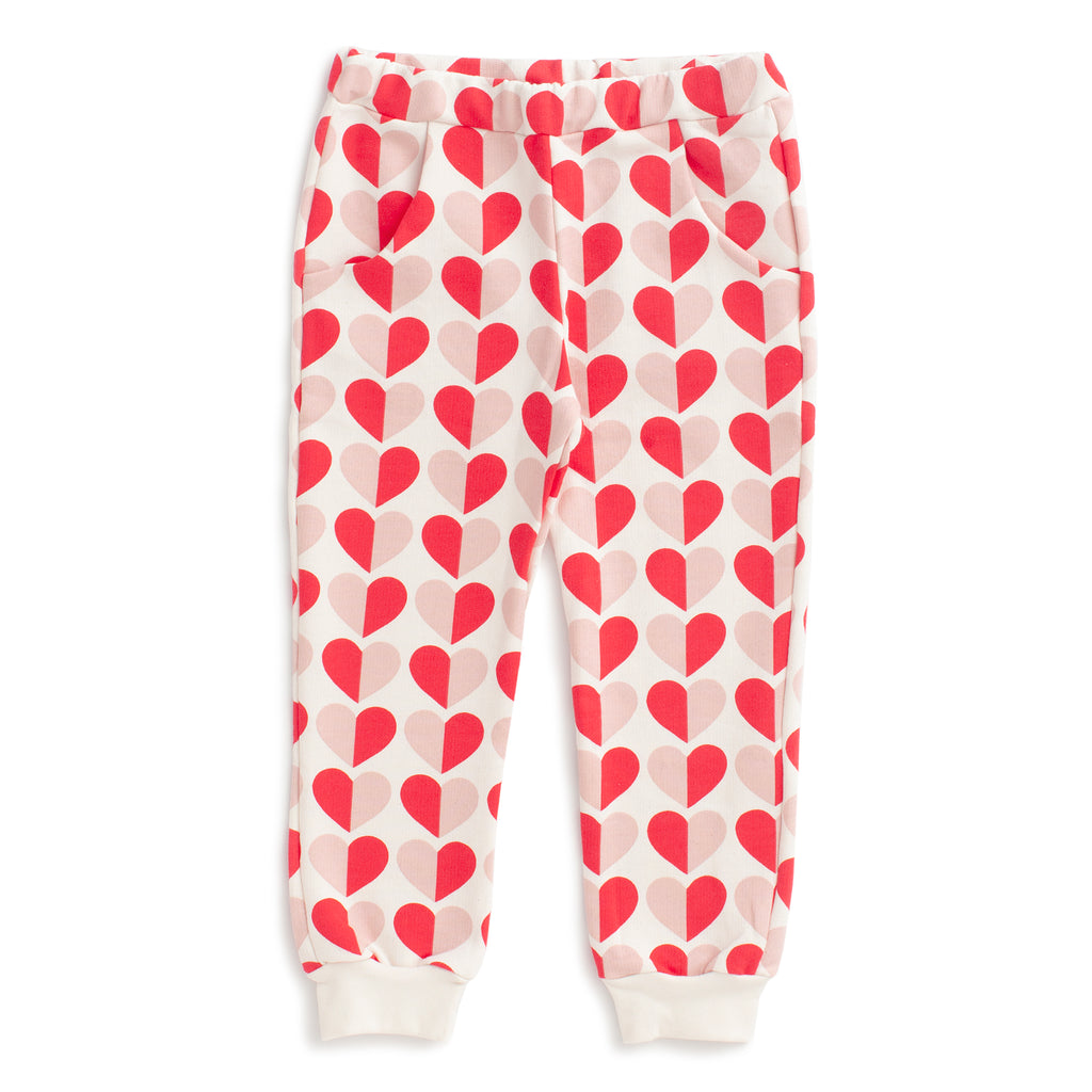 Sweatpants - Hearts Red & Pink