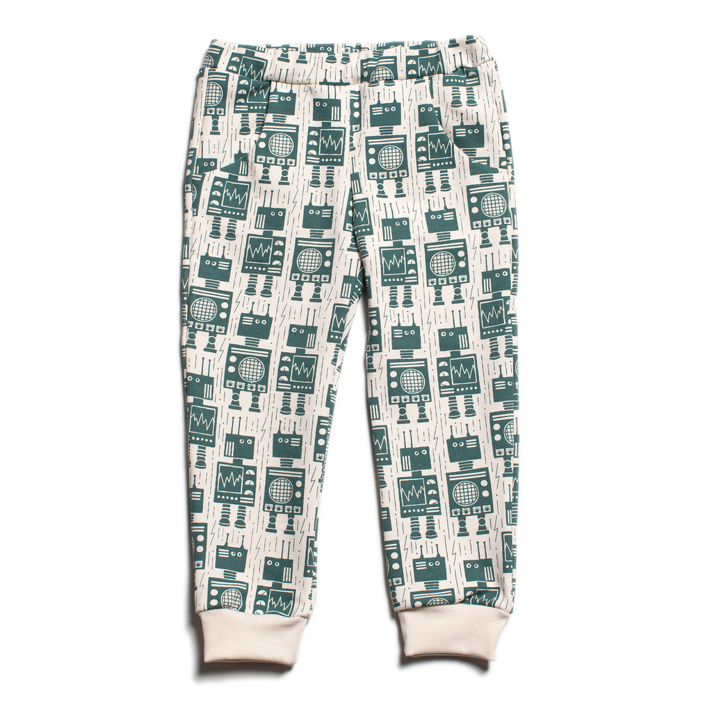 Sweatpants - Robots Teal