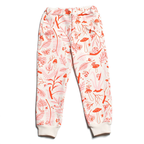 Sweatpants - Leaves & Bugs Red & Pink