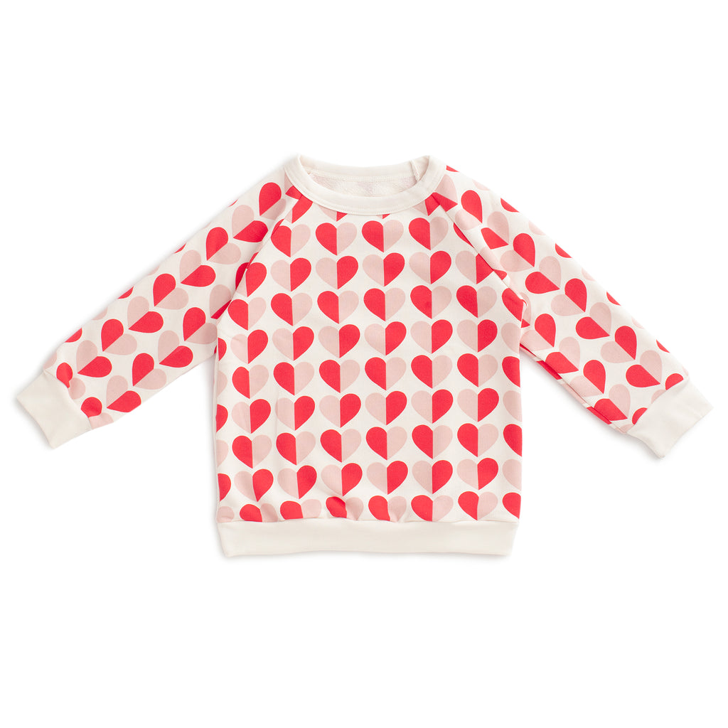 Sweatshirt - Hearts Red & Pink