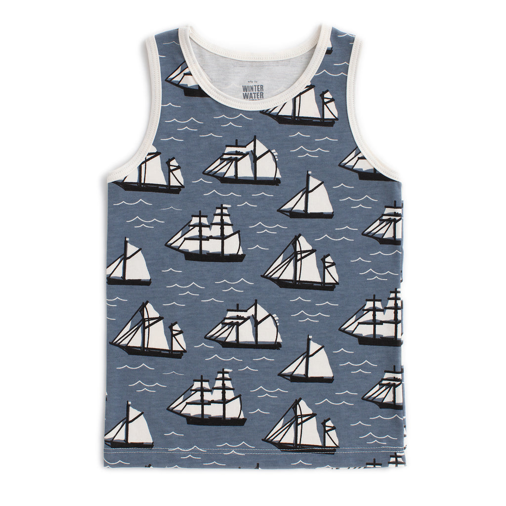 Tank Top - Vintage Sailboats Slate Blue & Black