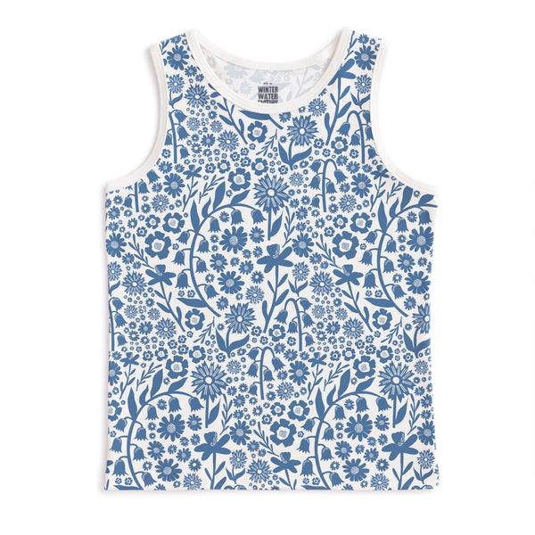 Tank Top - Dutch Floral Delft Blue