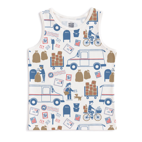 Tank Top - Postal Service Red & Blue