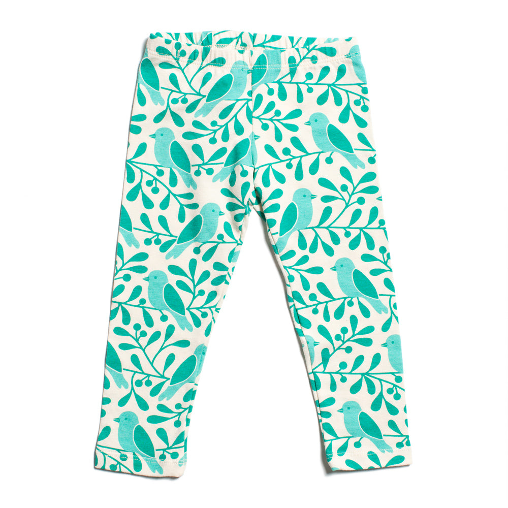 Baby Leggings - Birds & Berries Turquoise