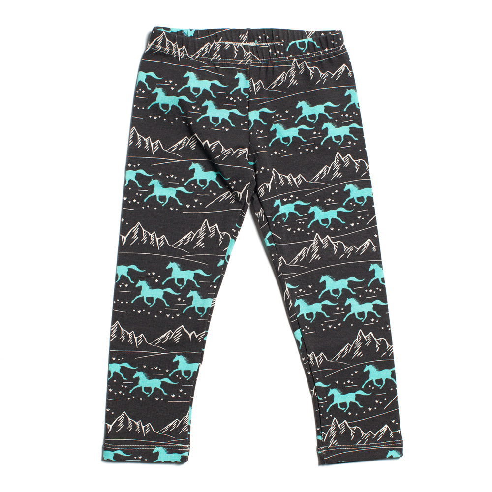 Baby Leggings - Wild Horses Charcoal & Mint
