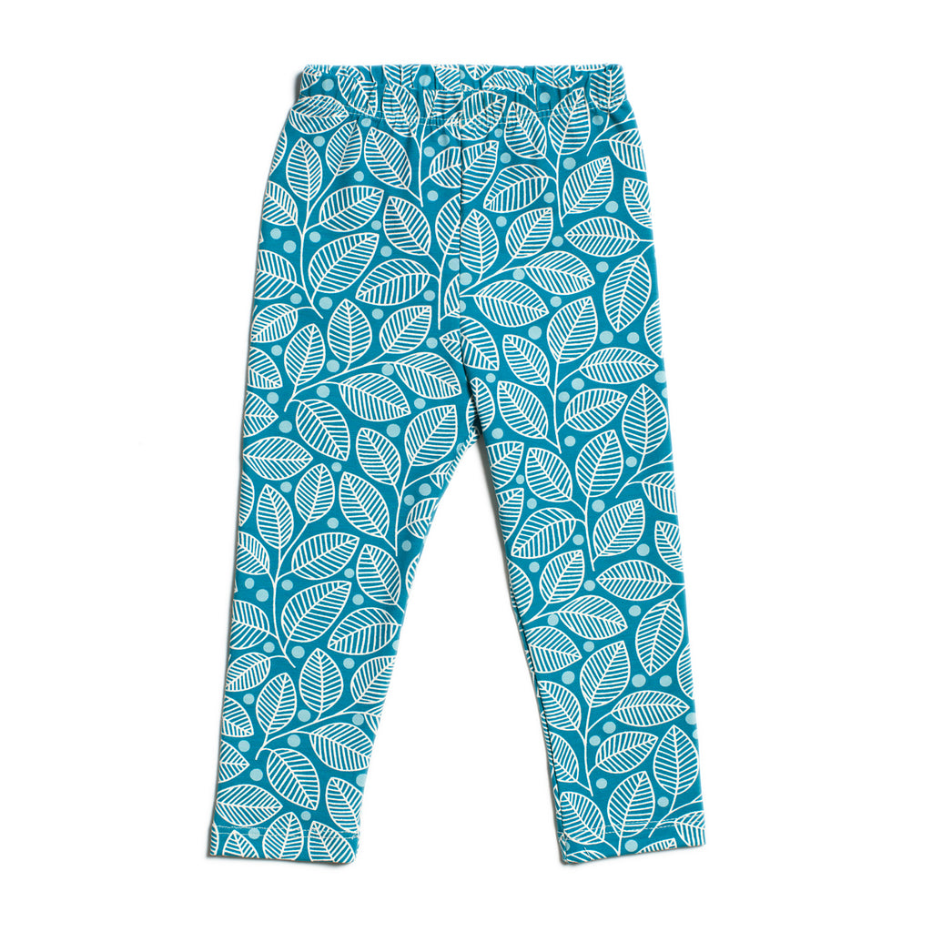 Baby Leggings - Leaves & Berries Teal & Turquoise