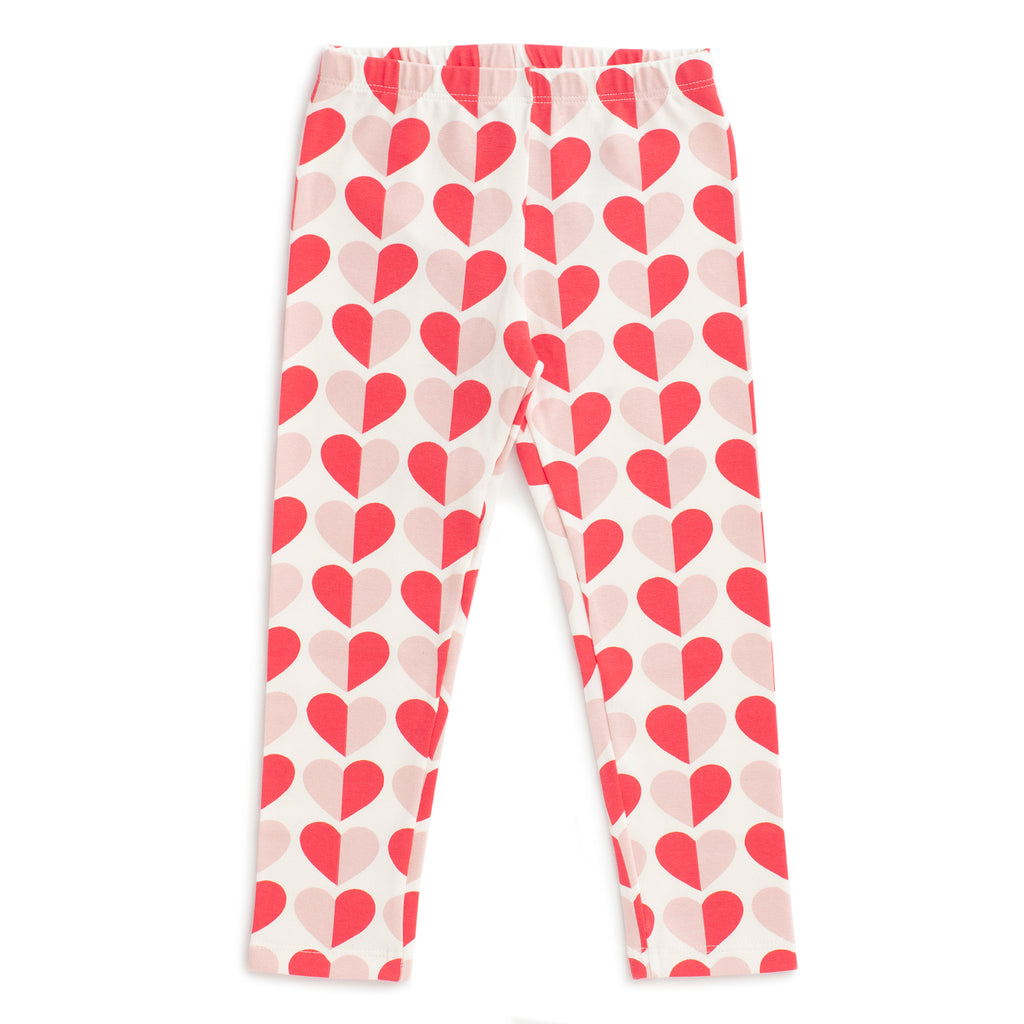 Baby Leggings - Hearts Red & Pink