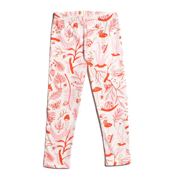 Baby Leggings - Leaves & Bugs Red & Pink