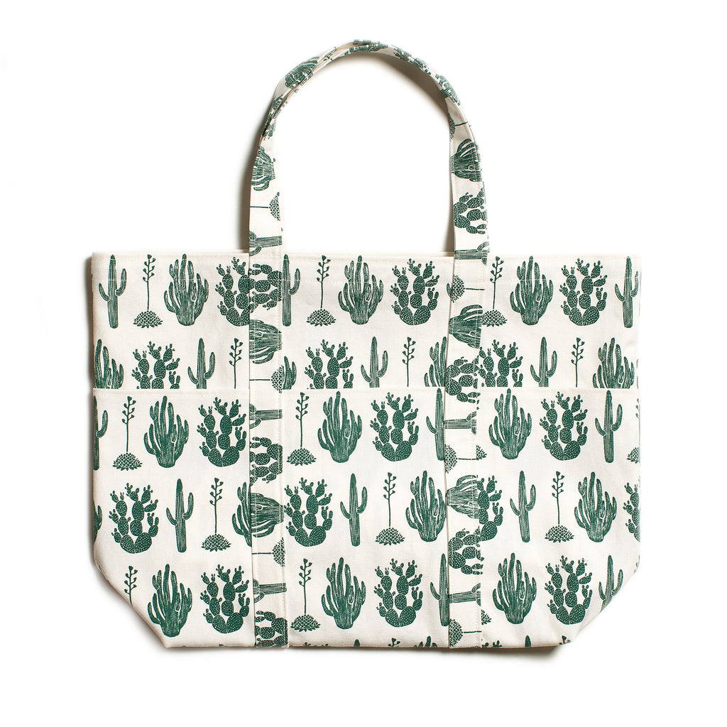 Large Canvas Tote - Cactus Green