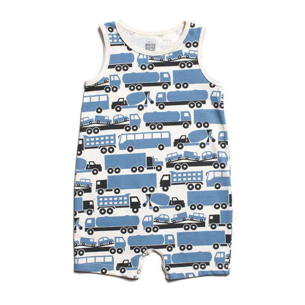 Tank-Top Romper - Big Rigs Blue