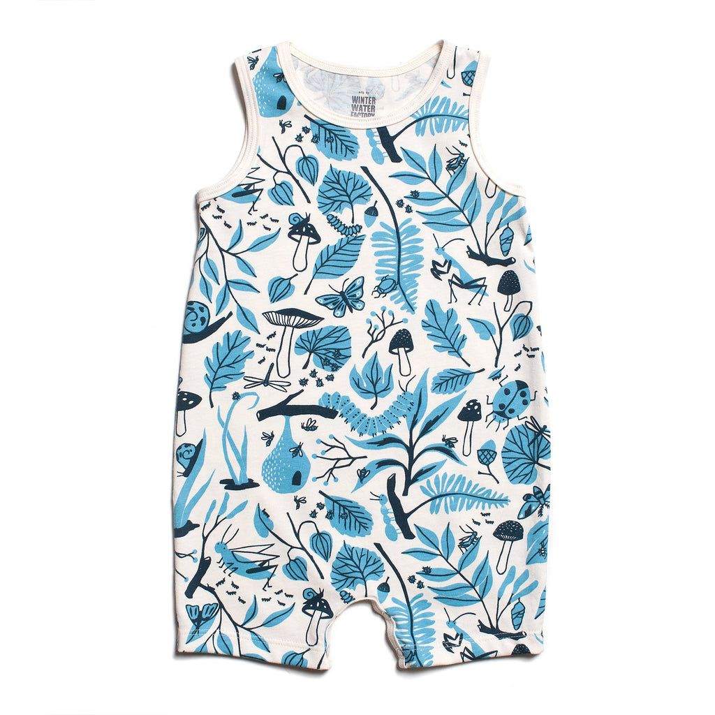 Tank-Top Romper - Leaves & Bugs Blue