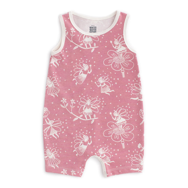Tank-Top Romper - Fairies Dusty Pink
