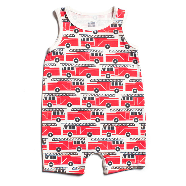 Tank-Top Romper - Firetrucks Red