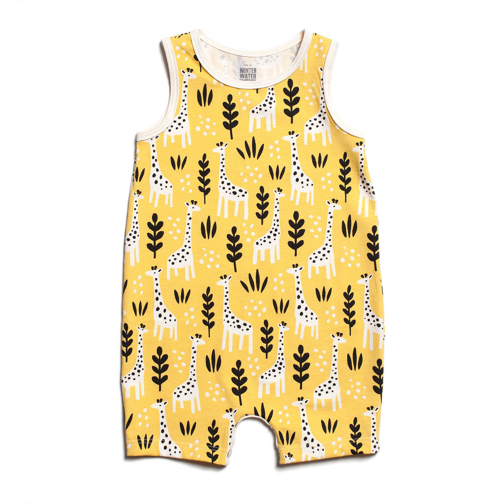 Tank-Top Romper - Giraffes Yellow