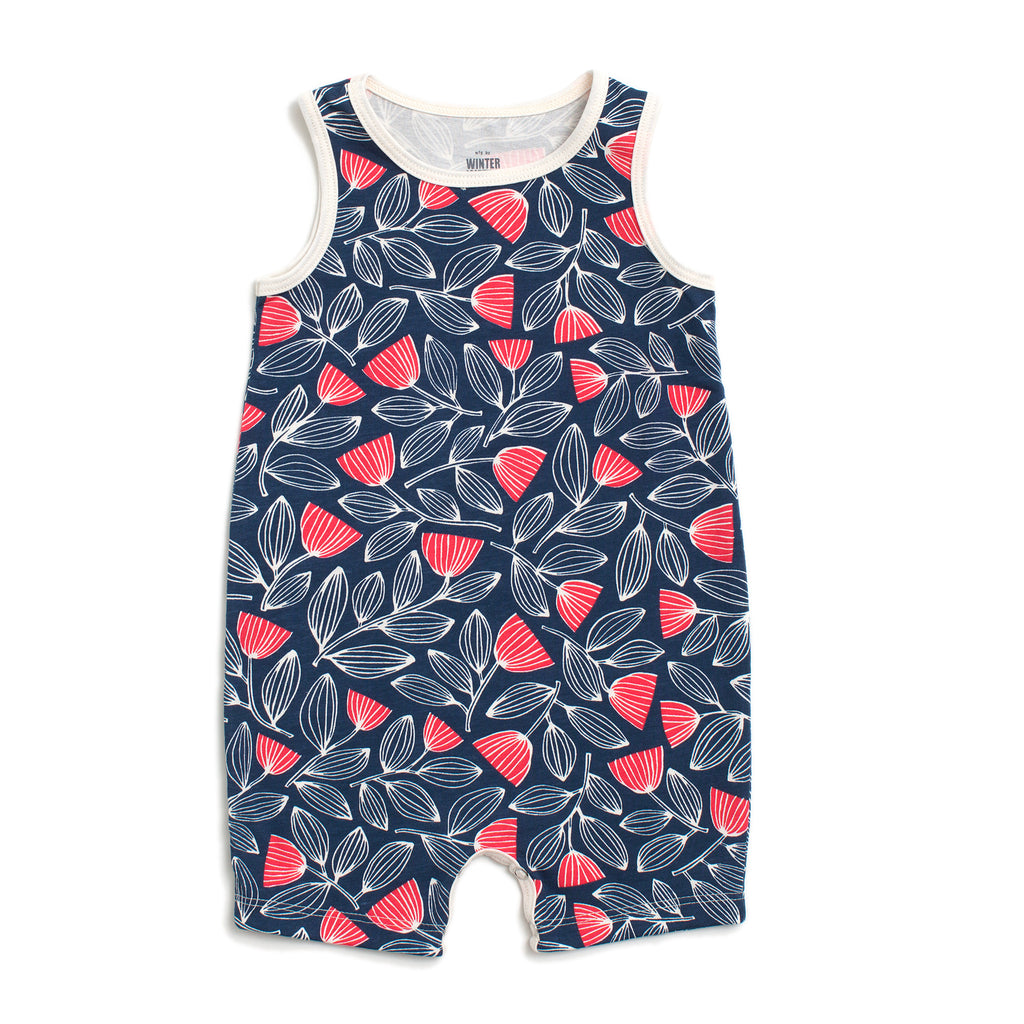 Tank-Top Romper - Holland Floral Navy & Coral