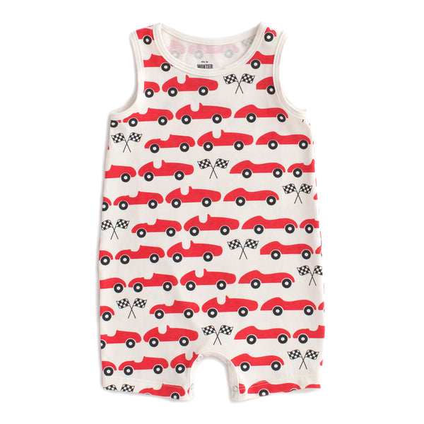 Tank-Top Romper - Race Cars Red