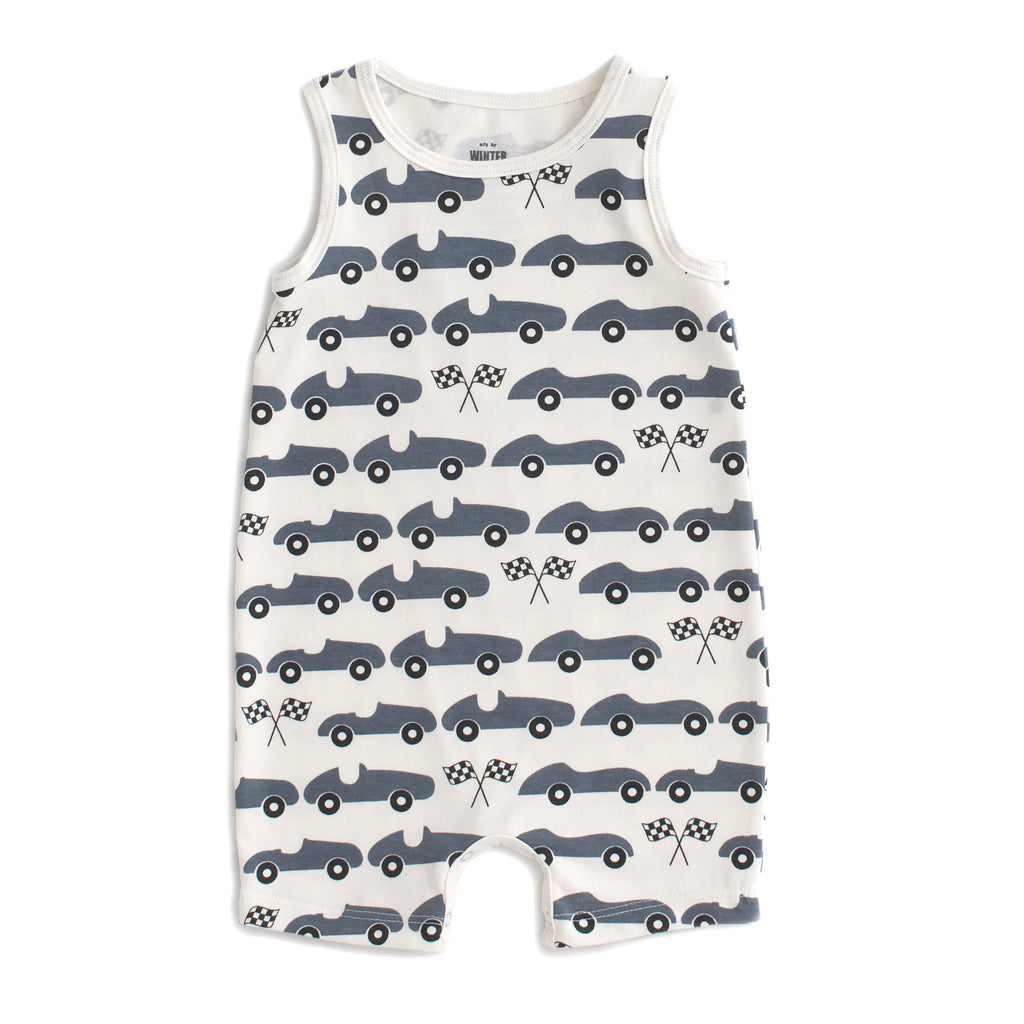 Tank-Top Romper - Race Cars Slate Blue