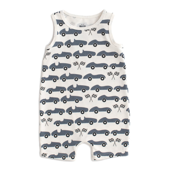 Tank Top Romper - Race Cars Slate Blue