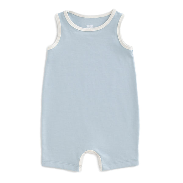 Tank-Top Romper - Solid Pale Blue