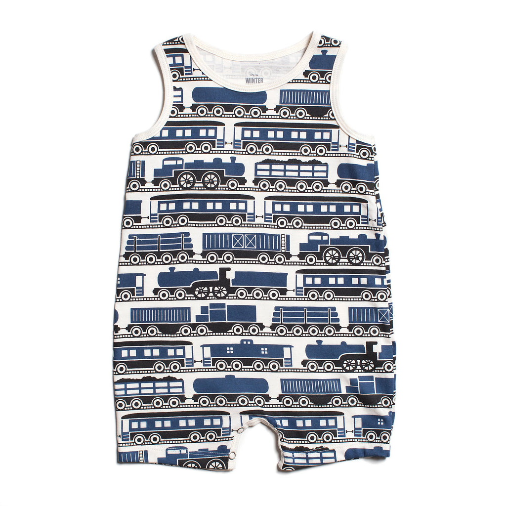 Tank-Top Romper - Trains Navy