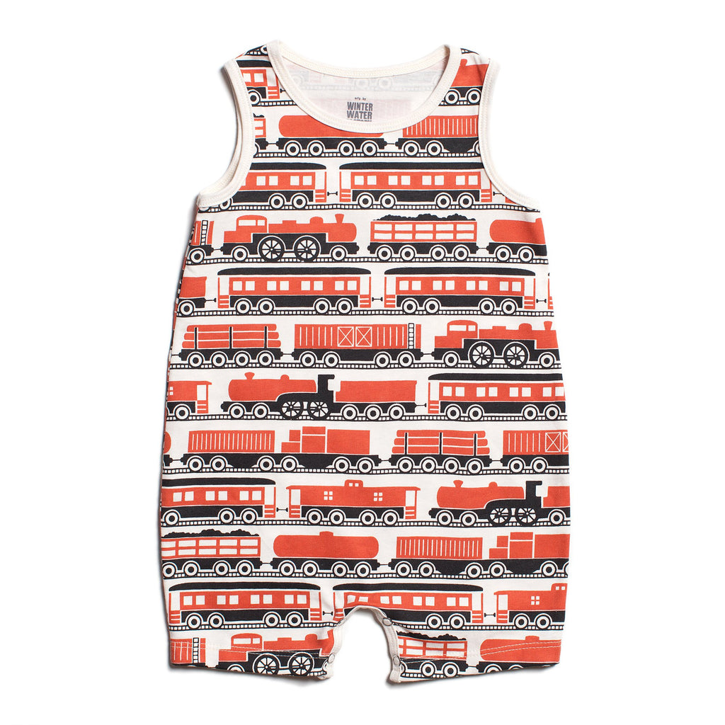 Tank Top Romper - Trains Orange