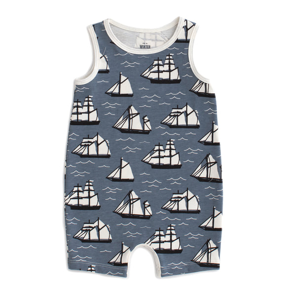 Tank-Top Romper - Vintage Sailboats Slate Blue & Black