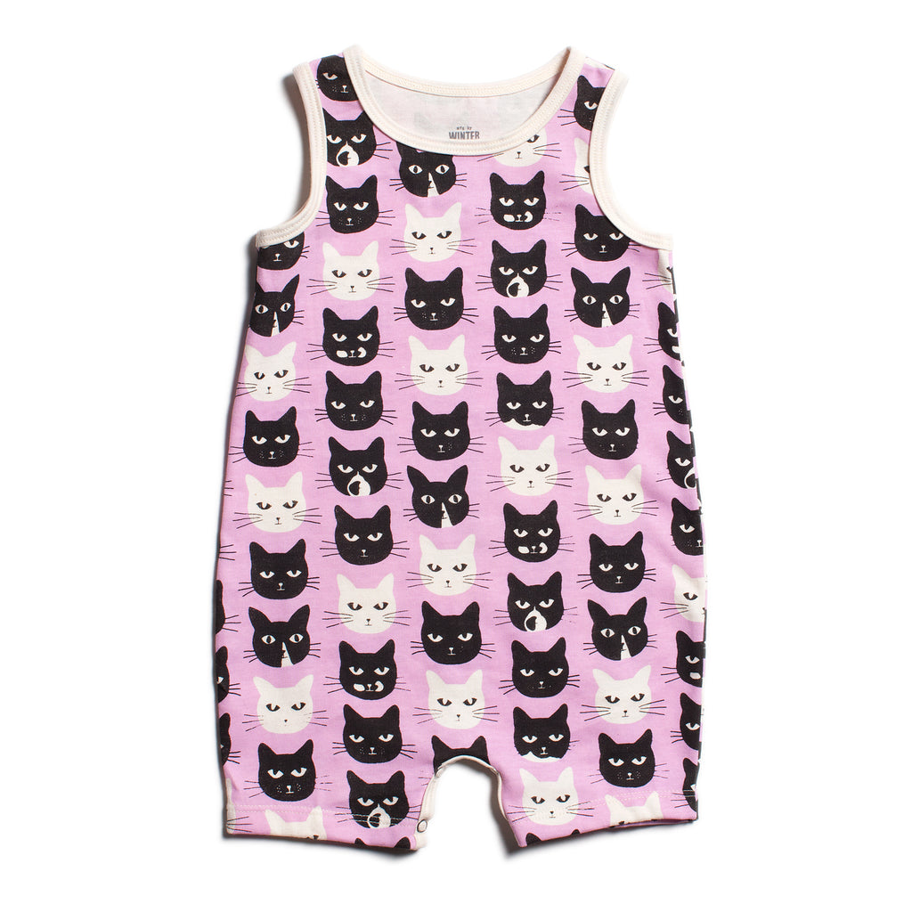 Tank-Top Romper - Cats Lavender