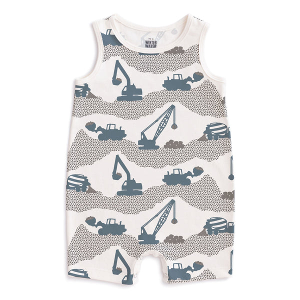 Tank Top Romper - Construction Slate Blue & Grey