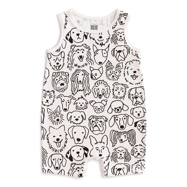 Tank Top Romper - Dogs Black