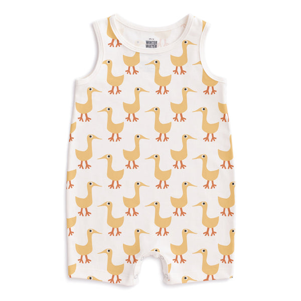 Tank Top Romper - Ducks Yellow