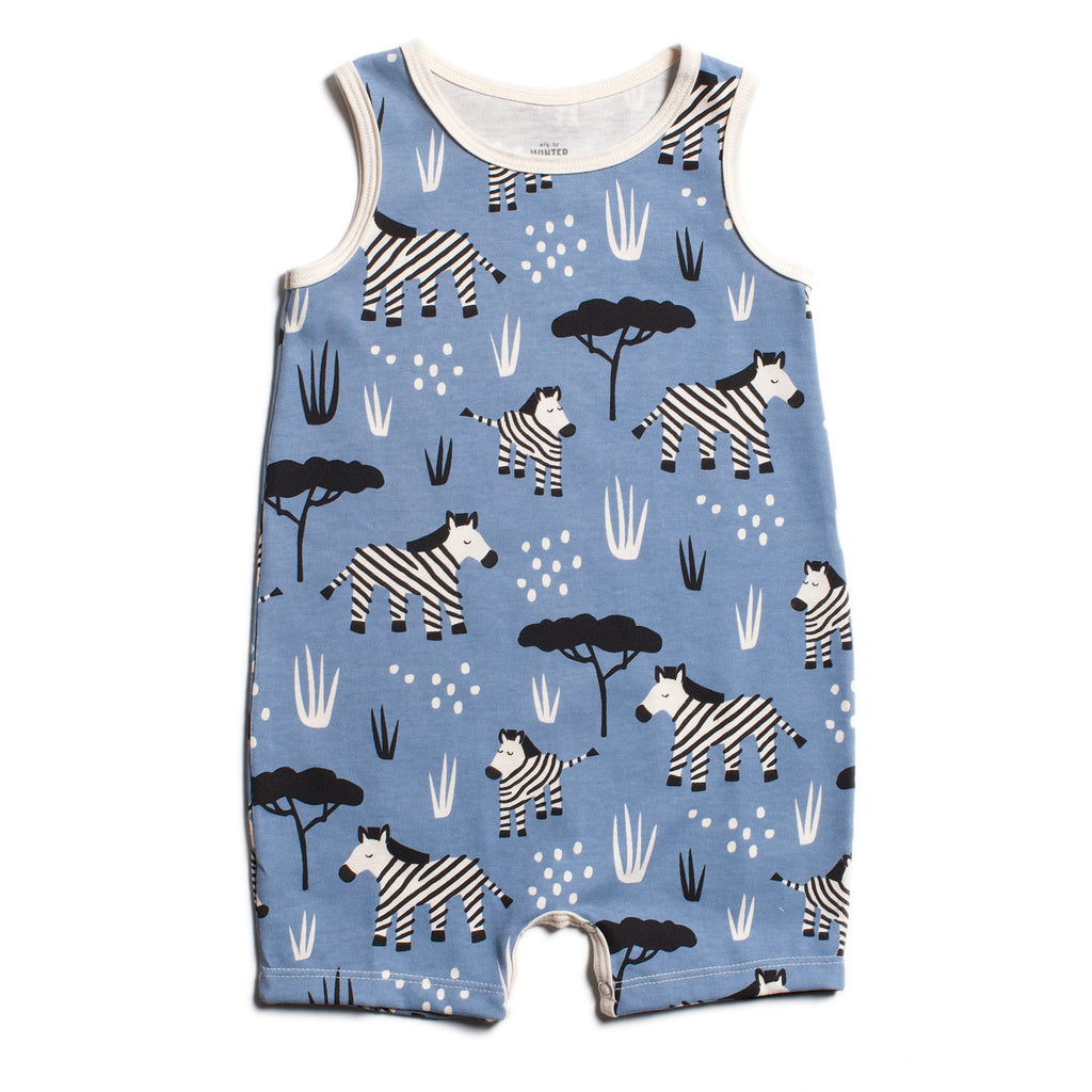 Tank-Top Romper - Zebras Blue